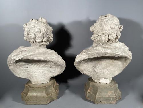 Antiquités - 18th fine italian pair of plaster busts, Eros and Anteros