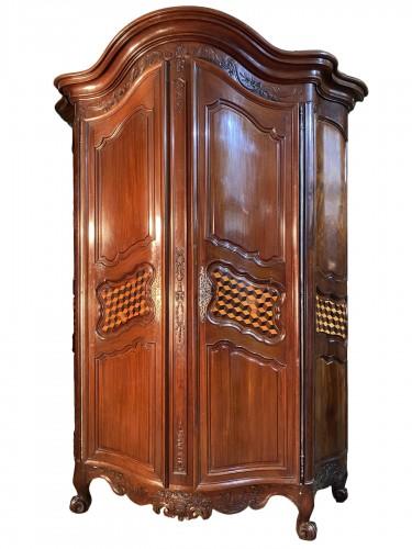 Monumental mahogany presentation wardrobe, Bordeaux circa 1760