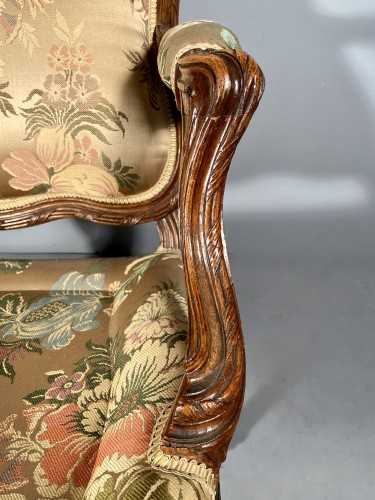 Series of four walnut armchairs by Pierre Nogaret circa 1770 -