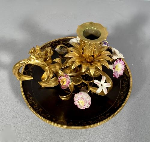 Lighting  - Ormolu, lacquer and porcelain toilet candlestick, Paris circa 1750.