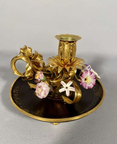 18th century - Ormolu, lacquer and porcelain toilet candlestick, Paris circa 1750.