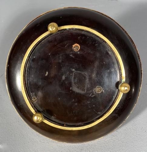 Antiquités - Ormolu, lacquer and porcelain toilet candlestick, Paris circa 1750.