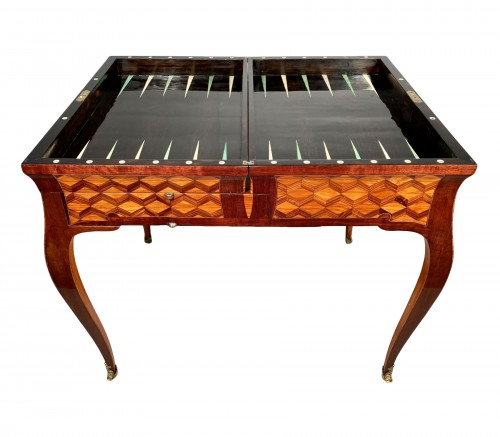 Travel backgammon table by Denizot circa 1770