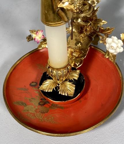 Lighting  - Bronze, lacquer and porcelain screen candlestick, Paris circa 1750