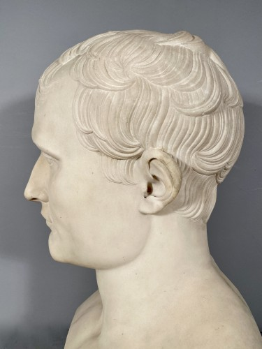 19th century - Marble bust of Napoleon in Hermes after Chaudet, Empire period.