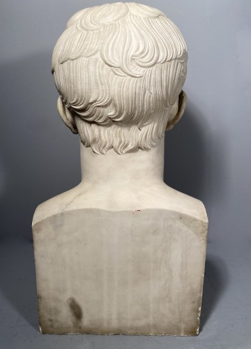 Antiquités - Marble bust of Napoleon in Hermes after Chaudet, Empire period.