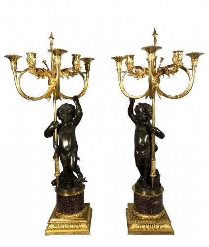 Pair of candelabra with hunting decoration  circa 1800