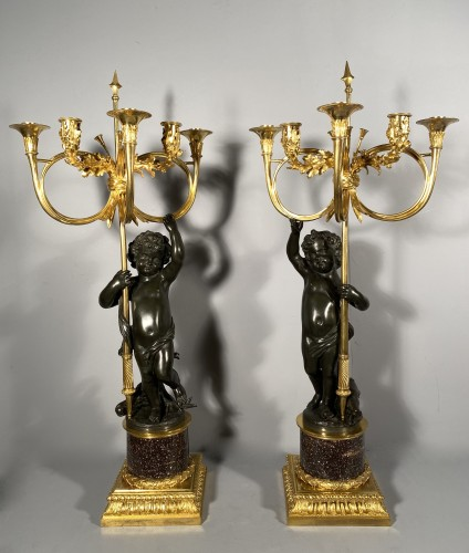 18th century - Pair of candelabra with hunting decoration  circa 1800