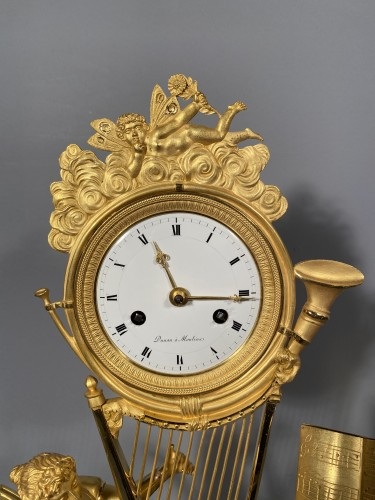 Joséphine harpist clock, Paris Empire period -