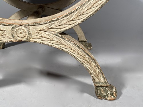 Seating  - Pair of curule stools in lacquered wood, 19th century
