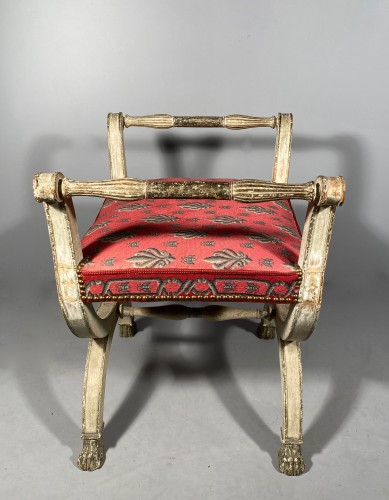 Pair of curule stools in lacquered wood, 19th century - Restauration - Charles X