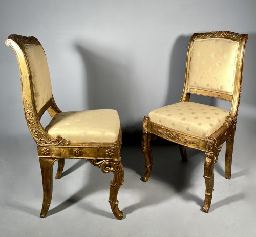 Antiquités - Pair of chairs for the Duchess of Berry circa 1820