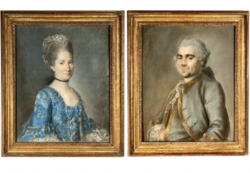 Elegant couple, pair of pastels circa 1760