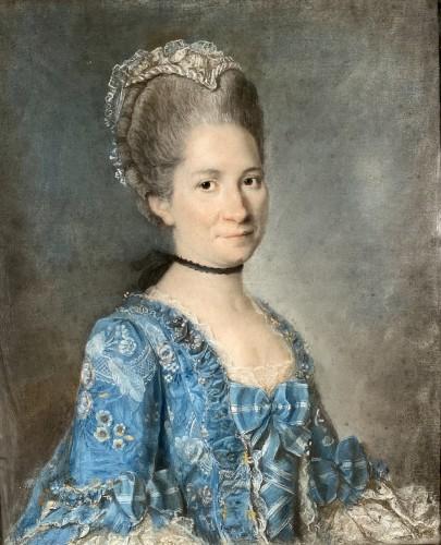 Elegant couple, pair of pastels circa 1760 - Paintings & Drawings Style Louis XV