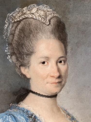 18th century - Elegant couple, pair of pastels circa 1760