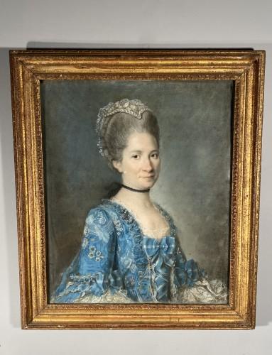 Elegant couple, pair of pastels circa 1760 - Louis XV