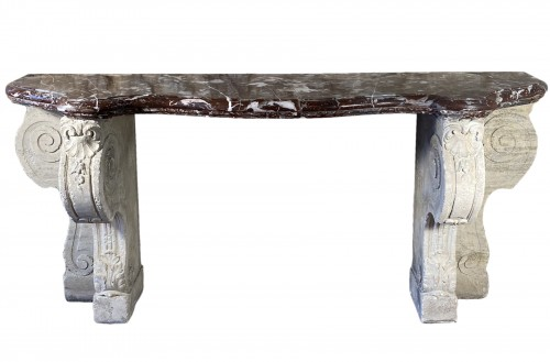 Important 19th century marble and limestone console.