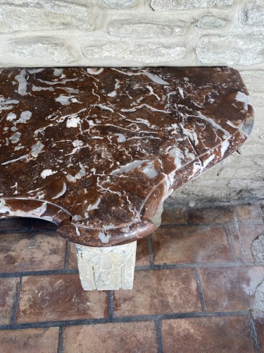 Important 19th century marble and limestone console. -