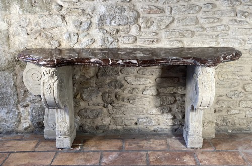 19th century - Important 19th century marble and limestone console.