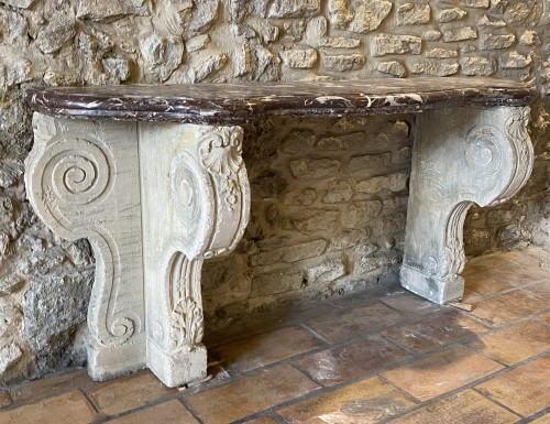 Important 19th century marble and limestone console. - Napoléon III