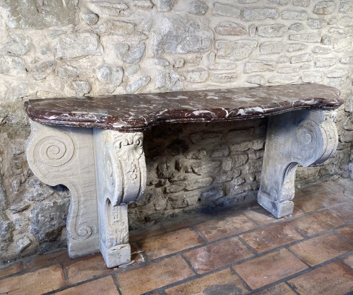 Antiquités - Important 19th century marble and limestone console.