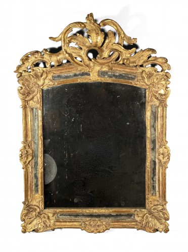 Rocaille mirror in gilded wood, Nîmes 18th century