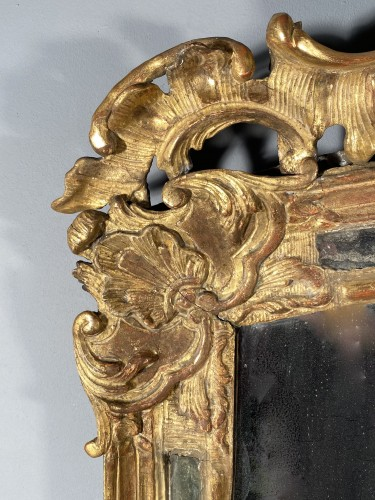 Rocaille mirror in gilded wood, Nîmes 18th century - Mirrors, Trumeau Style Louis XV