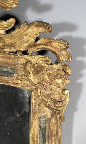 Rocaille mirror in gilded wood, Nîmes 18th century -