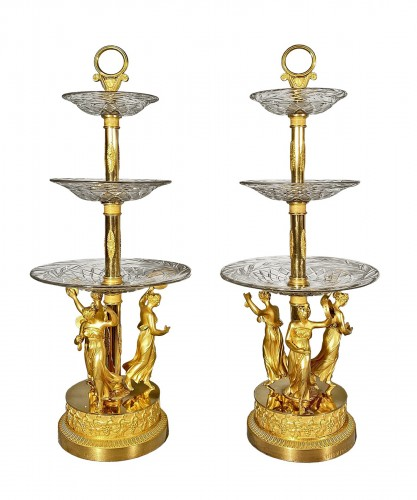 Pair of bronze and crystal cups signed Thomire circa 1810