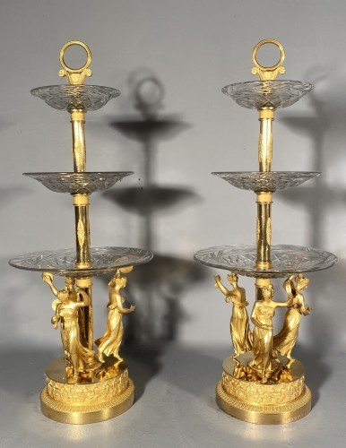 19th century - Pair of bronze and crystal cups signed Thomire circa 1810