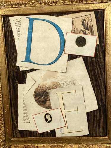 Trompe l'oeil with initials, watercolor, 18th century France. -