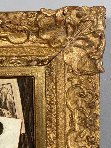 Trompe l'oeil with initials, watercolor, 18th century France. - Louis XV