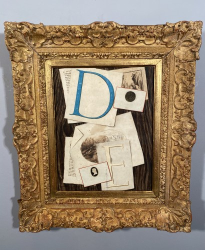 Louis XV - Trompe l'oeil with initials, watercolor, 18th century France.