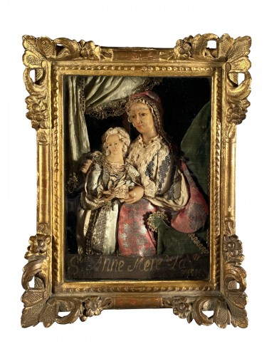 St Anne and the Virgin, dressed wax, workshop of the Guillot Brothers, Nanc