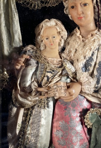 St Anne and the Virgin, dressed wax, workshop of the Guillot Brothers, Nanc - Religious Antiques Style Louis XIV