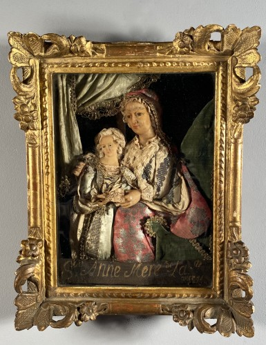 St Anne and the Virgin, dressed wax, workshop of the Guillot Brothers, Nanc - Louis XIV