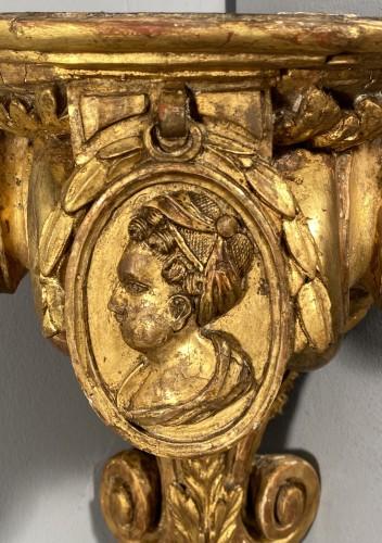 Pair of corner consoles after Delafosse, Paris, Louis XV period - Furniture Style Transition