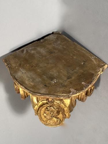 Antiquités - Pair of corner consoles after Delafosse, Paris, Louis XV period