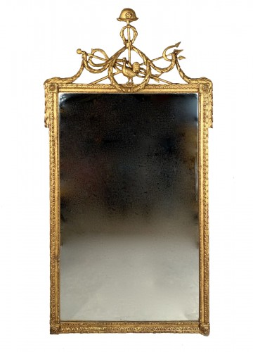 Gilded wood mirror with the arms of the city of Marseille circa 1790