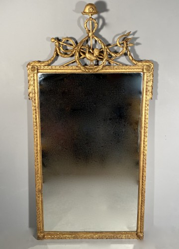 Gilded wood mirror with the arms of the city of Marseille circa 1790 - Directoire