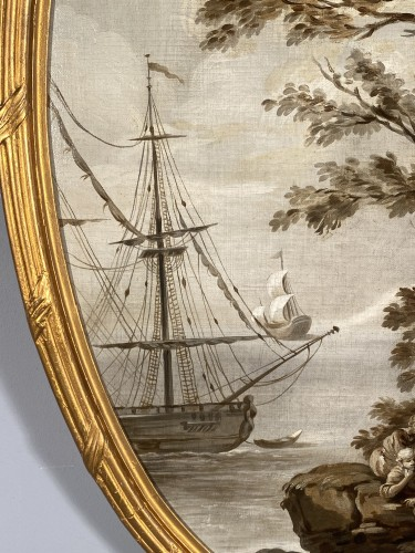Pair of grisailles views of ports, Provence circa 1800 - Paintings & Drawings Style Louis XVI