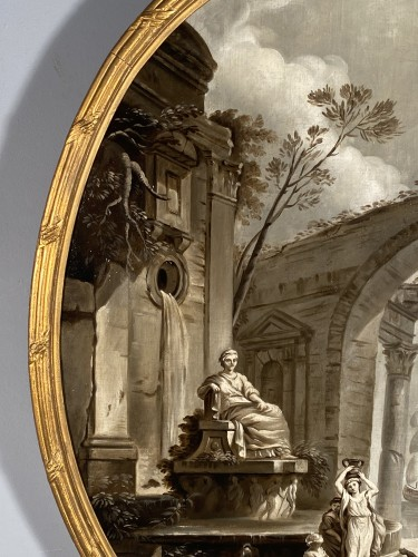 Louis XVI - Pair of grisailles views of ports, Provence circa 1800