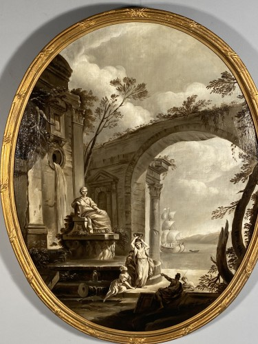 Antiquités - Pair of grisailles views of ports, Provence circa 1800