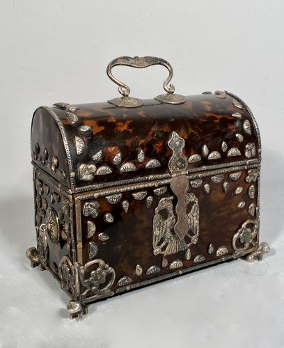 Tortoise shell and silver box 18th century -
