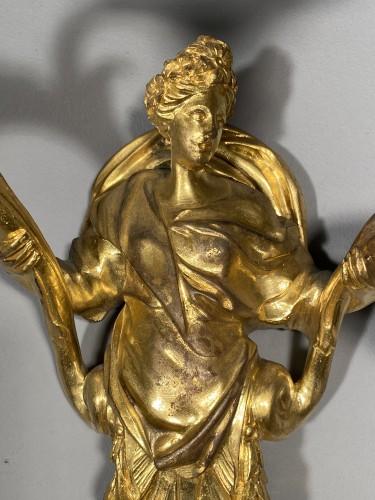 Lighting  - Pair of Flora and Zephyr bronze sconces circa 1850