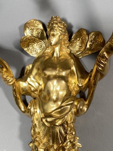 Pair of Flora and Zephyr bronze sconces circa 1850 -