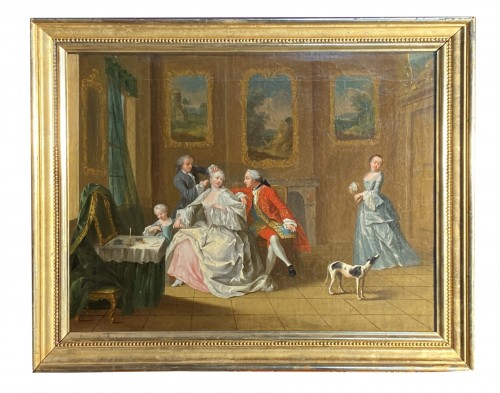 The hairdressing lesson, French school circa 1750