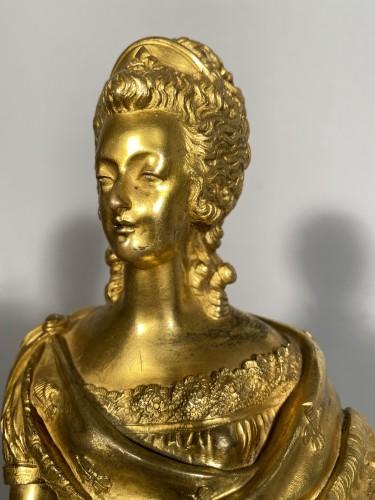 Marie-Antoinette queen of France, gilt bronze 19th century - Sculpture Style Restauration - Charles X