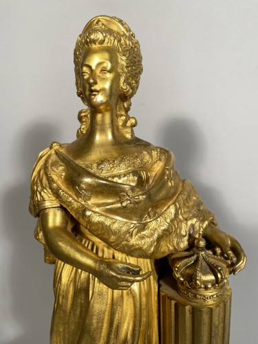 Sculpture  - Marie-Antoinette queen of France, gilt bronze 19th century