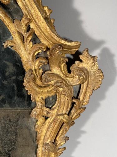 Italian fine 18th mirror in gilded wood, Genoa circa 1750 - Mirrors, Trumeau Style Louis XV